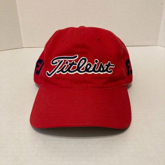 Titleist Footjoy Golf Hat Adjustable Strap Red FJ